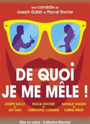 """Affiche du spectacle """"De quoi j'me mêle"""" : un couple se reflétant dans une paire de lunettes jaunes"""