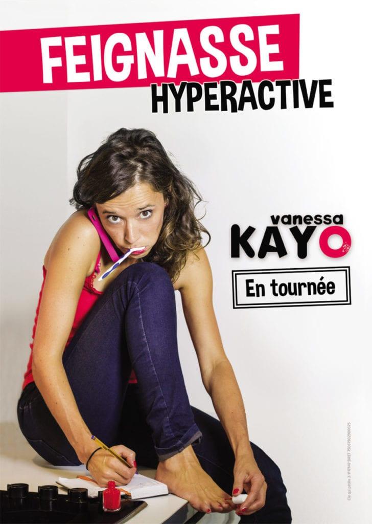 """affiche du spectacle """"feignasse hyperactive"""" théatre à biarritz le petit bijou avec Vanessa Kayo"""