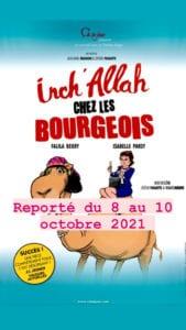 Affiche du spectacle Inchallah chez les bourgeois humour au théâtre à Biarritz le petit bijou