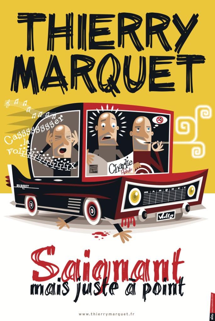 """affiche de spectacle """"saignant mais juste à point"""" de thierry marquet au cafe theatre à biarritz"""