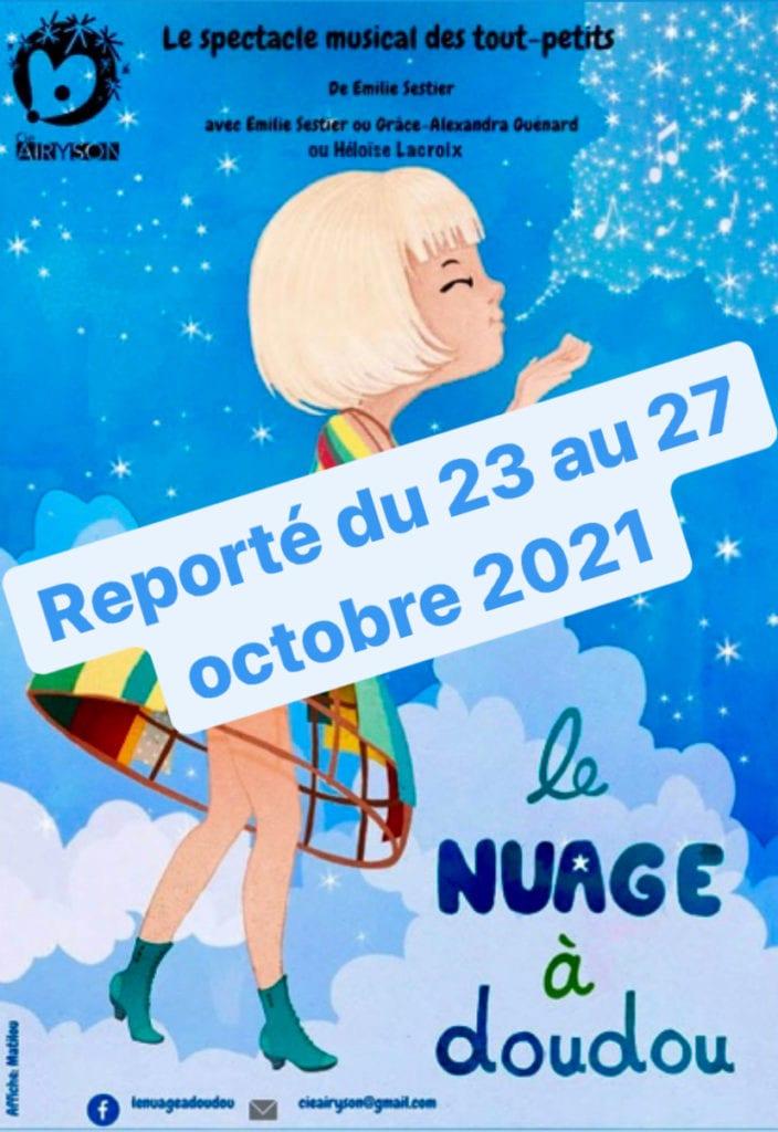 """affiche du spectacle pour enfant """"Le Nuage de Doudou"""" thatre pour enfant à biarritz"""