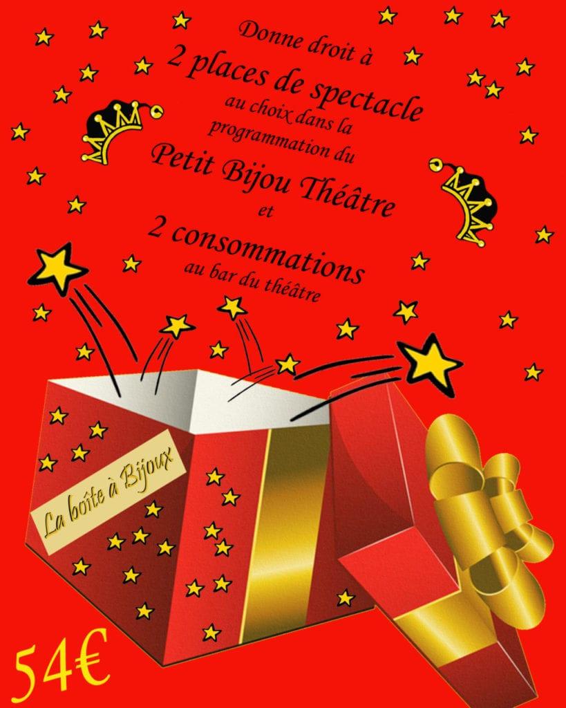 Boite avec le bon cadeau pour deux spectacles et deux consommations au petit bijou