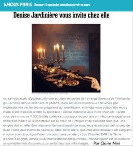 """Article dans A nous Paris sur la pièce """"Denise Jardinière"""""""