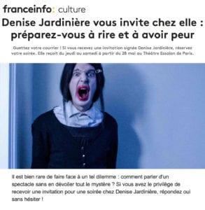 """Article dans France-Info Culture sur la pièce """"Denise Jardinière"""""""