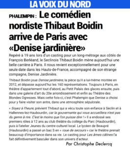 """Article dans La Voix du Nord sur la pièce """"Denise Jardinière"""""""