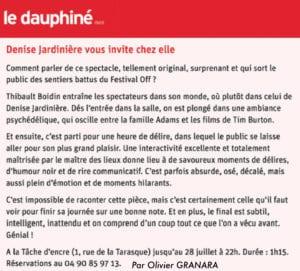 """Article dans Le Dauphiné sur la pièce """"Têtes de gondole"""""""