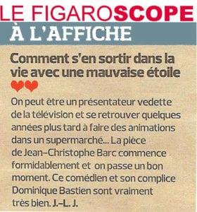 """Article avec deux coeurs dans Le Figaro sur la pièce """"Têtes de gondole"""""""