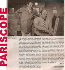 """Article dans PARISCOPE sur la pièce """"Têtes de gondole"""""""
