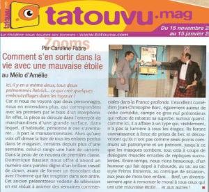 """Article avec deux coeurs dans Tatouvu.mag sur la pièce """"Têtes de gondole"""""""