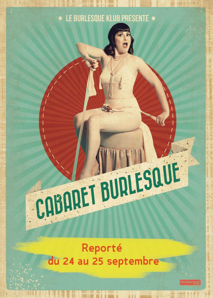 Affiche du spectacle Cabaret burlesque Une femme en tenue légère assise devant une ombrelle colorée