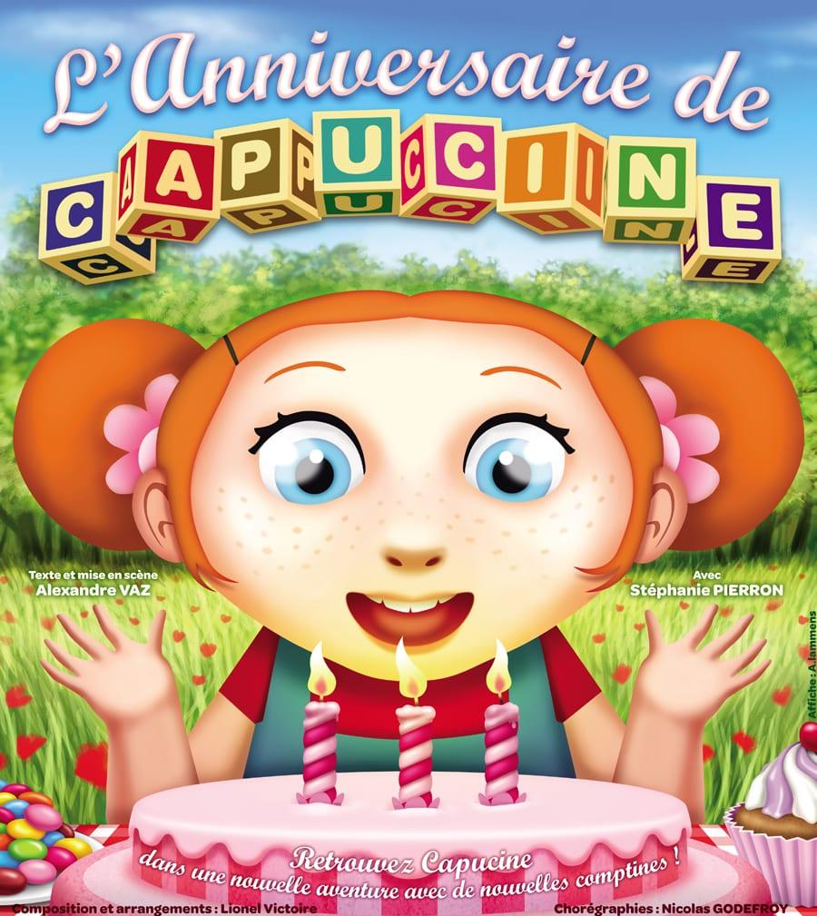 """Affiche du spectacle pour enfants """"L'anniversaire de Capucine"""" au café théâtre Biarritz Le Petit Bijou"""