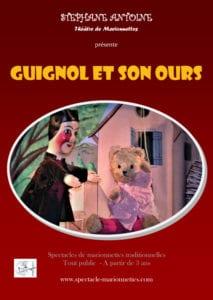 Affiche du spectacle de marrionnette Guignol et son ours