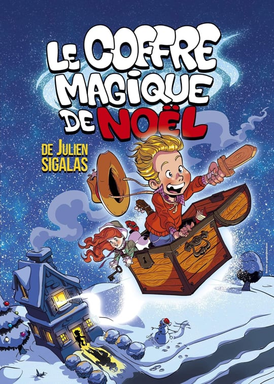 Affiche du spectacle pour enfant le coffre de noel : un enfant s'envole d'une maison dans son coffre a jouets