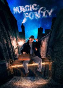 """Affiche du spectacle de magie """"Magic FONZY"""" spectacle pour enfants à Biarritz"""